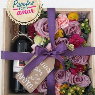 Ramo de flores con vino a domicilio
